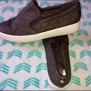 Brand New Michael Kors Brown MK Slip ons